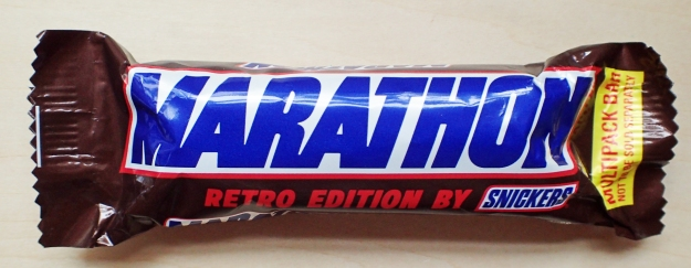 Marathon retro edition by Snickers. Each bar weighed 41.7g and provided 213kcal, containing 35% milk chocolte, 14% nougat, 27% caramel and 24% peanuts. Photographed 2020