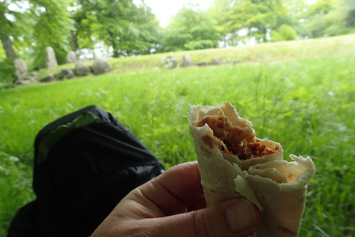 A halt at Waylands Smithy Neolithic chambered long barrow. Lunch is John West 'Tuna with a Twist' (oven dried tomato & herb dressing) with flour tortilla