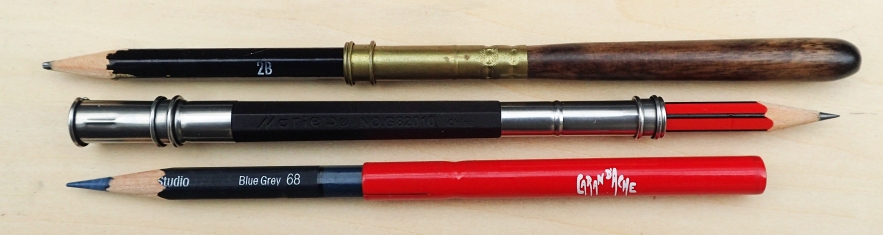 Three different pencil extenders. The wooden shafted model, very comfortable in the hand, weighs 6.2g. The plastic shafted, double ended Marie's extender weighs 6.1g and the metal tube extender from Caran D'Ache just 3.5g