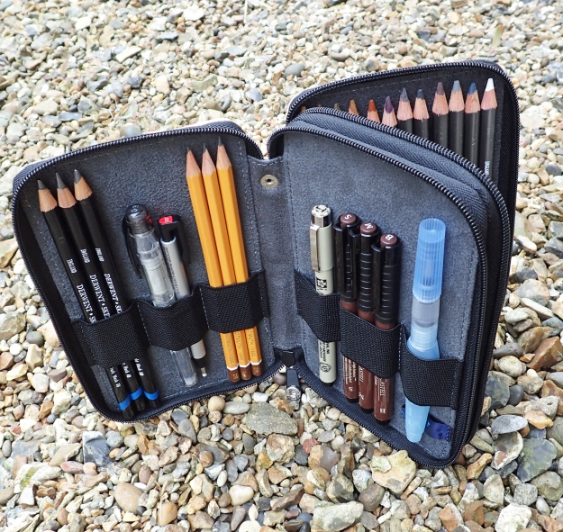 Global Art Materials make their canvas pencil cases to hold 24, 48 or 120 pencils. This is the mid range product. Good as it is, and it is very good, it is far to heavy and bulky for any lightweight set up for taking hiking. Instead it accompanies me on family holidays abroad etc.