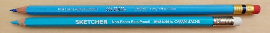 Non-photo blue pencils are produced by a number of manufacturers. There have been some complaints raised in recent years as to a perceived drop in quality from the, now made in Mexico, Prismacolor Col-Erase Copy not NP Blue (4.7g). The (6.9g) Sketcher Non-Photo blue from Swiss manufacturer Caran D'Ache is a good alternative. Both come with a small eraser in the metal ferrule