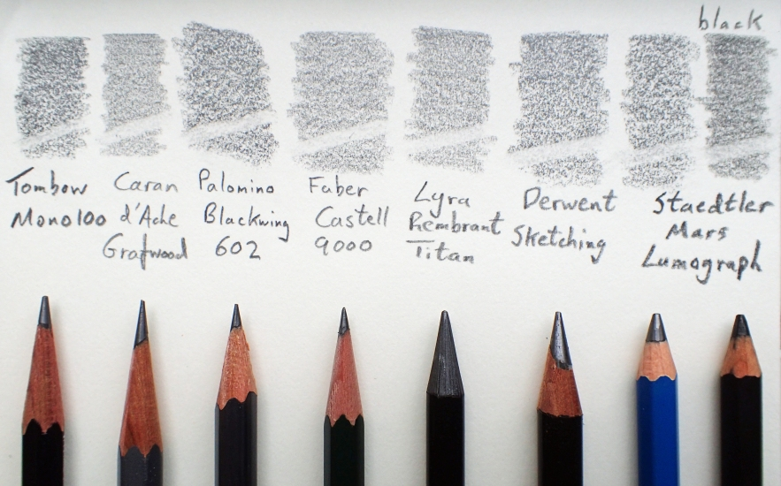 Eight pencils in 2B compared. Paper is a 95gsm creamy white, with a bit of tooth