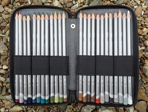 The full set of 24 Graphitint pencils just squeezes in to one panel of my 48 pencil case from Global Art