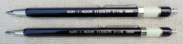 Koh-I-Noor's lovely 5900 Toison D'Or [Golden Fleece] clutch pencil is a terrific, well made product. There is a pocket clip and small yet effective sharpener under the cap. Reliable, good to look at, feels great in the hand, what more could you want from a 2mm lead clutch?