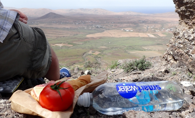 A simple lunch sufficed while hiking in the hills in Fuerteventura