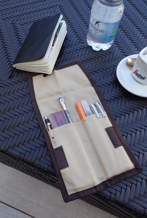 I used my Derwent Pocket Pencil wrap on a recent holiday to Sicily. It did a fine job of keeping my small selection of materials together