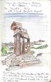 My imperfect sketch of the Tempio di Castore e Polluce o dei Dioscuri, using a Faber Castell sepia Pitt Artist pen, was nicely picked out with some scribbles of colour using just brown, blue and green 2mm leads from Koh-I-Noor