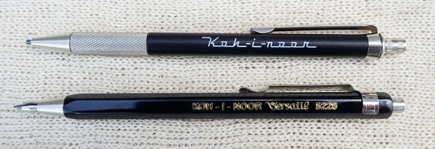 Koh-I-Noor also make two 'mini' or shortie pencils. The 5608 notebook pencil is a handsome piece of kit that is a genuine mechanical pencil- the graphite being extended on its click of the button. Both this and the simpler 5228 below take 2mm leads