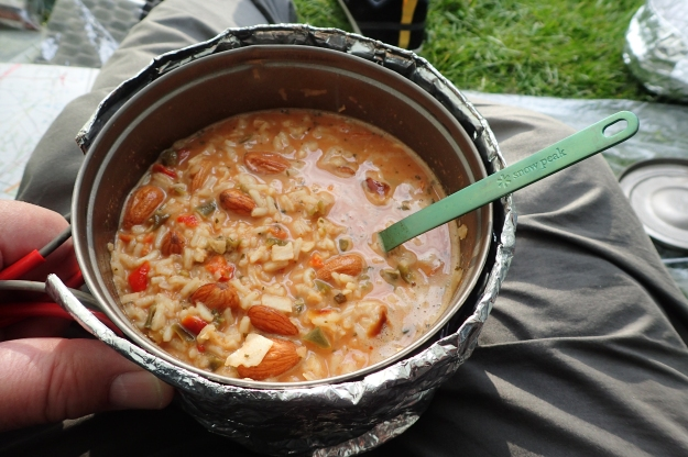 Cooking up an Almond Jalfrezi from Tentmeals on my second night on the Peddars Way