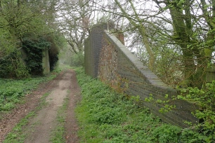 Leaving North Pickenham, the old Roman Road soon follows a lovely wide and grassy path known as Procession Lane. A name thought to derive from the ceremony of beating the bounds. I passed between the brick remnants, dating from 1875, of the former Swaffham - Thetford railway line