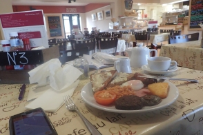 Superb breakfast at the Deepdale Cafe