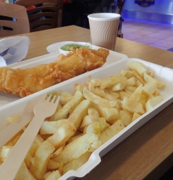 Fish and Chips with Mushy Peas enjoyed at Wells-next-the-Sea