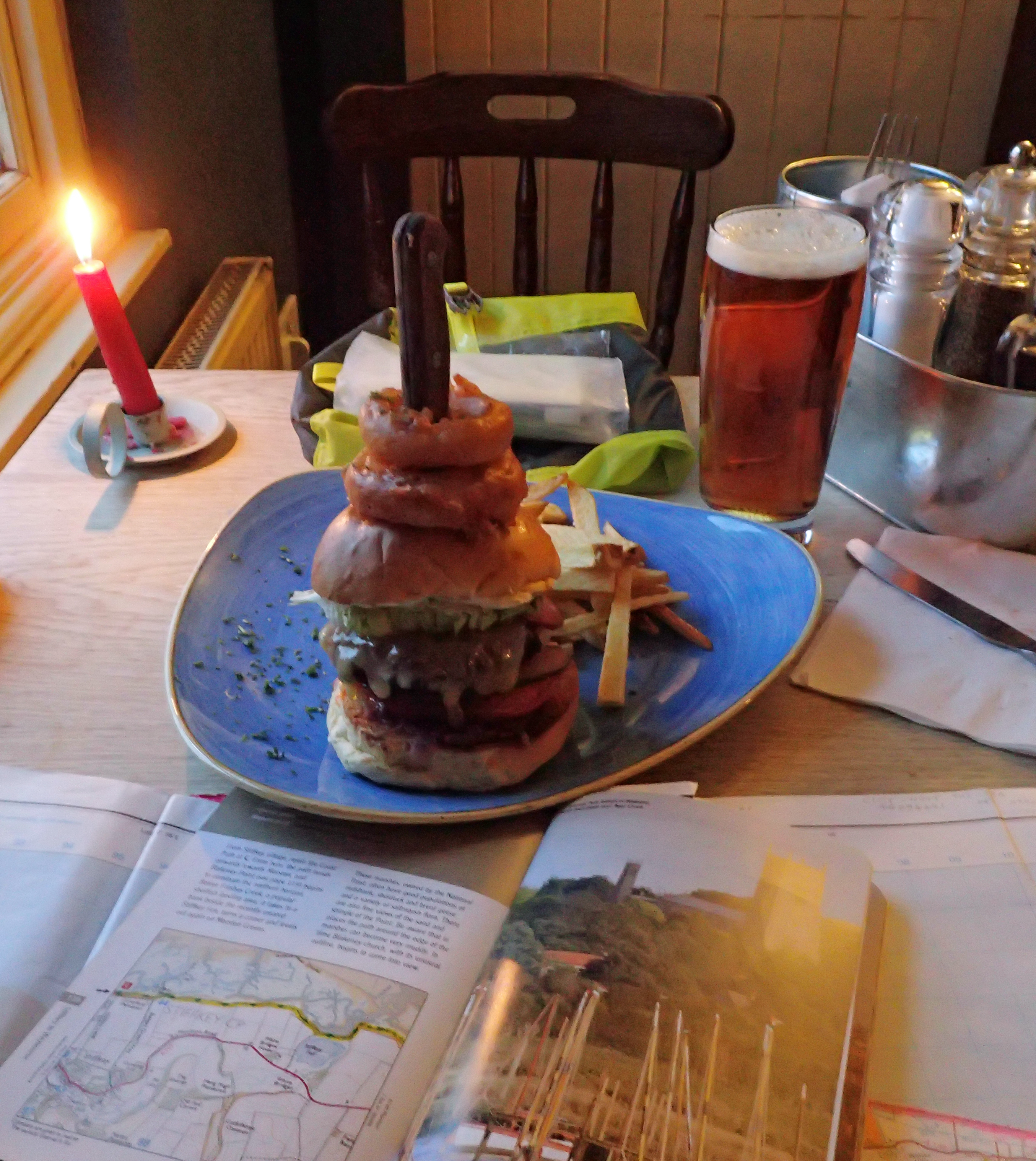 A pint, good quality burger and writing up the days notes in the Red Lion, Stiffkey