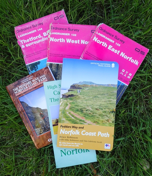 There a number of map and guide options for the Peddars Way and Norfolk Coast Path, I took the relevant 1:50 000 O.S. maps as I already had them. I also purchased the Cicerone guide and the official trail guide. Both are excellent but I only took the Bruce Robinson guide with me