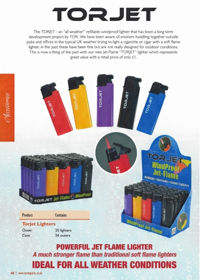 2014 advertisement for the Torjet 'all weather' refillable windproof lighter