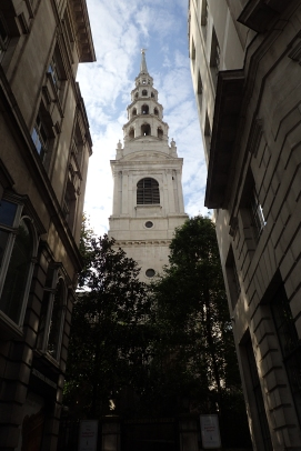 Walking the streets of London and passing the unmistakable wedding cake spire of St. Brides Church