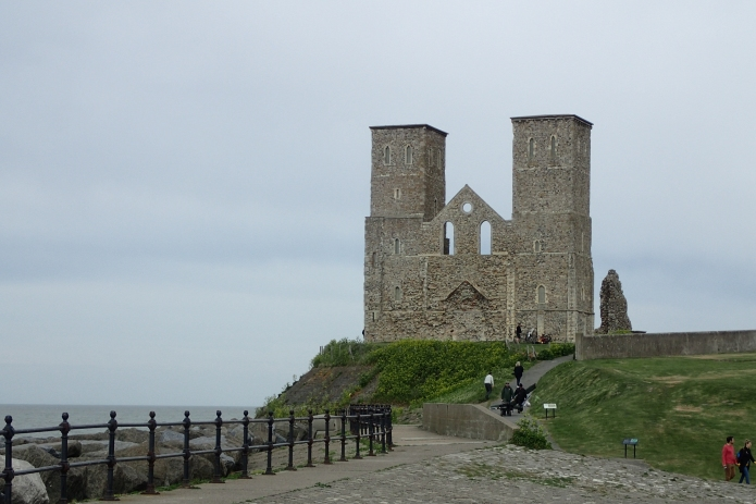 Reculver Towers on the Viking Coastal Trail, part of the Kent Coast Path now subsumed by the England Coast Path