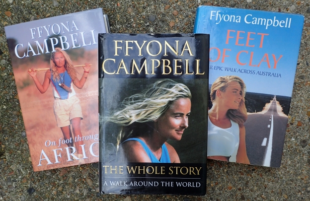 Three books by Ffyona Campbell record her walking exploits
