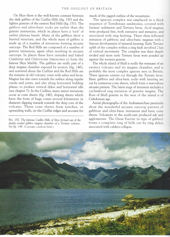 A page from the Geology of Britain explains, in simple terms, the central igneous complexes exhibited on Skye