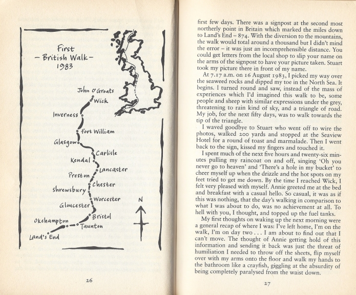 Two pages from the paperback version of Ffyona Campbell's autobiography The Whole Story. Needless to say, her account of her 1000 mile walk from John O'Groats to Lands End at the age of sixteen is a small part of the book, covered in just eight pages including the sketch map