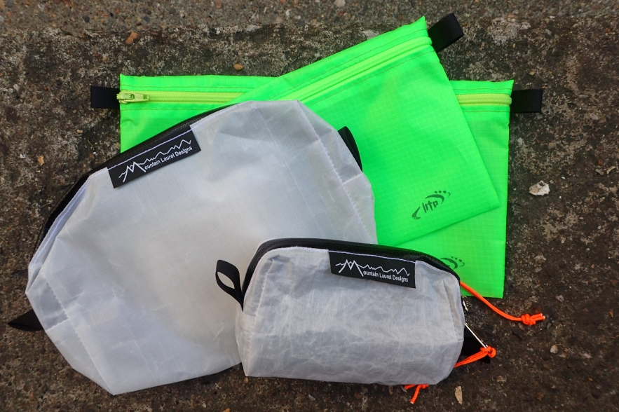 A selection of lightweight cuben pouches