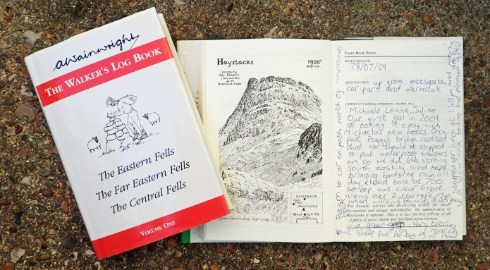 There have been various products made over the years that featured the drawings and work produced by Alfred Wainwright. Our family purchased the two Walkers Log Books, these were a great way of encouraging Three Points of the Compass's daughter to think on her day, the route we had taken and record her and our experiences