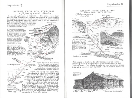 Two of Wainwright's routes (subsequently revised by Chris Jesty) to the summit of Haystacks. The fell on which his ashes were scattered