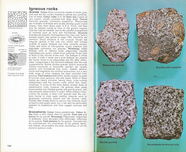 The opening pages in the Hamlyn Guide to Minerals, Rocks and Fossils that deal with Igneous rocks