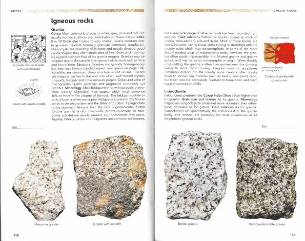 The opening pages from Philip's Guide to Minerals, Rocks and Fossils that covers Igneous rocks, beginning with Granite