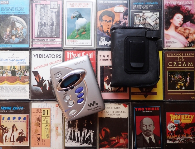 My Sony Walkman from a good few years ago. The combined tape player/radio was quite a bulky item and could , in no way, fit into a pocket. The rather horrible plastic wallet with belt clip was a necessity when hanging out with this and a few pals of a weekend or evening