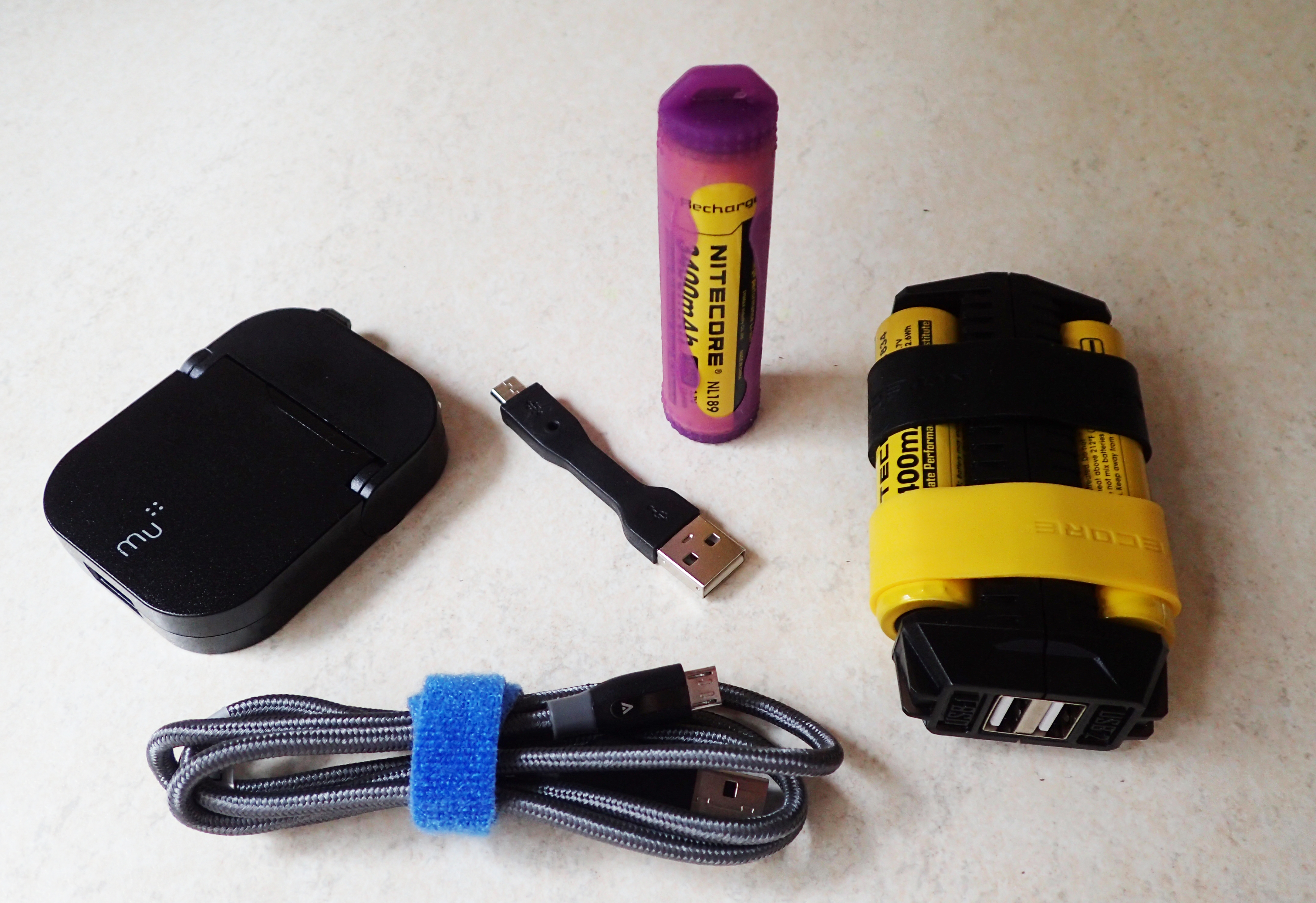 Powerbank, charge leads and plug for walks of a week or more
