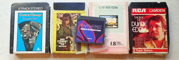 Eight track cassettes- 1970s. Minidisc- 2000