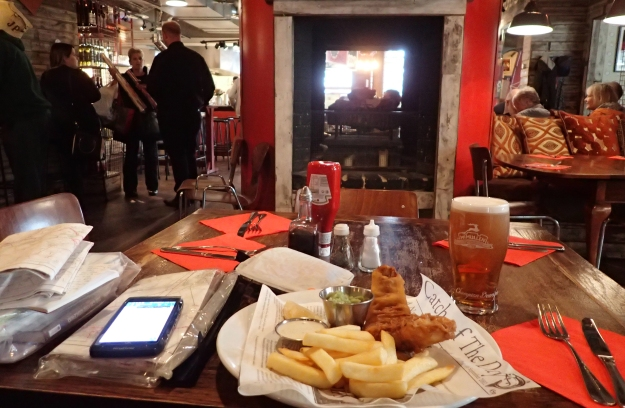 Three Points of the Compass paused for lunch twice on the walk. The Jolly Postie in Royston provided excellent fish, chips and a couple of pints of beer. Handily, I could also top up my two litre Evernew bladder here