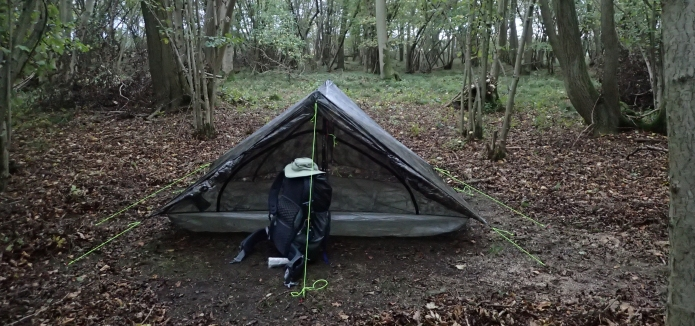 Z Packs Duplex on my third night on the Icknield Way Trail