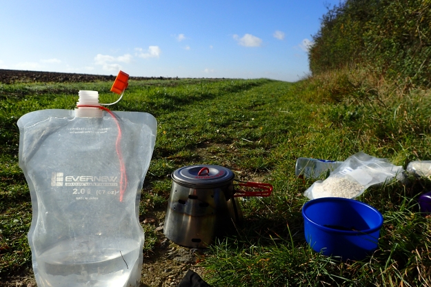 Stopping early morning to cook a hot breakfast and prepare a hot drink on the Icknield Way