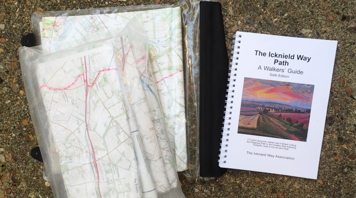 Maps are essential, guide book a desirable on the Icknield Way Trail. I took a photocopy of the small initial section starting from Tring railway station (from O.S. 181), plus O.S. Explorer maps 193, 194, 209, 210 and 229. Each weihed about 110g. The 'Walkers' Guide' from the Icknield Way Association weighs 154g
