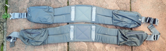 My original, damaged, Mariposa hipbelt below, and its replacement above. Note how the design has altered slightly, the belt pockets are now positioned further round to the side. Not an advantage I fear