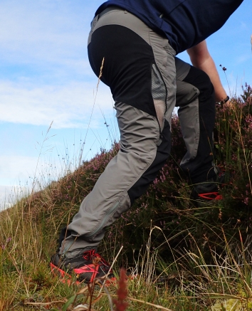 Montane Terra Pants, these are the 'graphite' coloured version. Photographed on Inishowen Head, Co. Donegal, Ireland in 2015. Note the side zips on the leg to provide additional ventilation