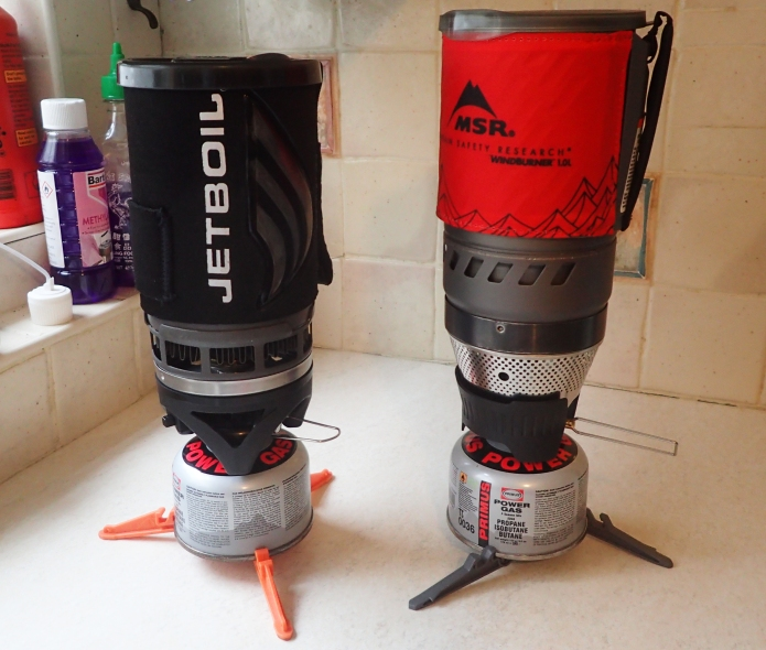Jetboil Flash and MSR Windburner- two fantastically efficient options, but for boiling water only, not cooking