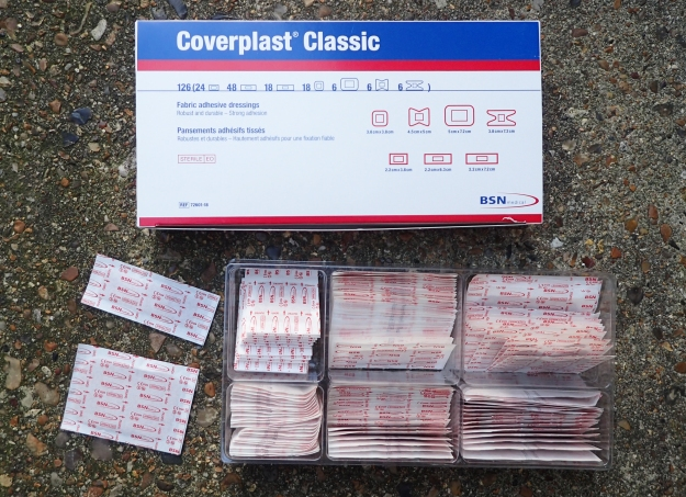 A good selection of good quality plasters can be purchased quite cheaply online. Coverplast is the 'new name' for Elastoplast