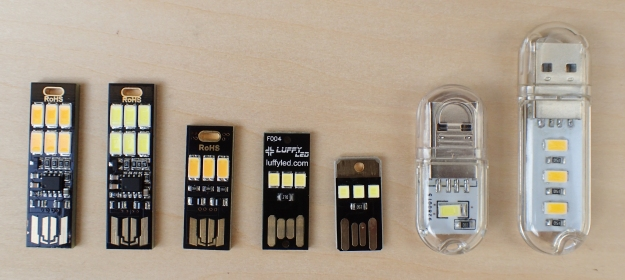 LED lights for plugging into USB ports come in a variety of configurations with differing brightness and function. Their small size and weight make them ideal for travelling and backpacking
