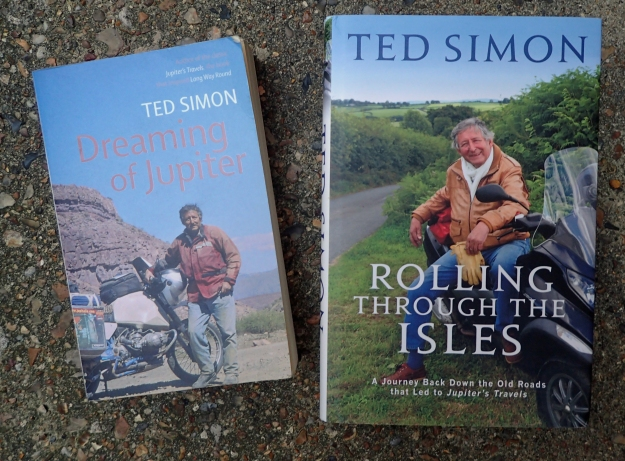 "Two other books by Ted Simon extended his motorcycling accounts- Dreaming of Jupiter (2007) was a re-tracing of his 1970s adventure. Rolling through the Isles saw the old adventurer back on the roads ""that led to Jupiter"""