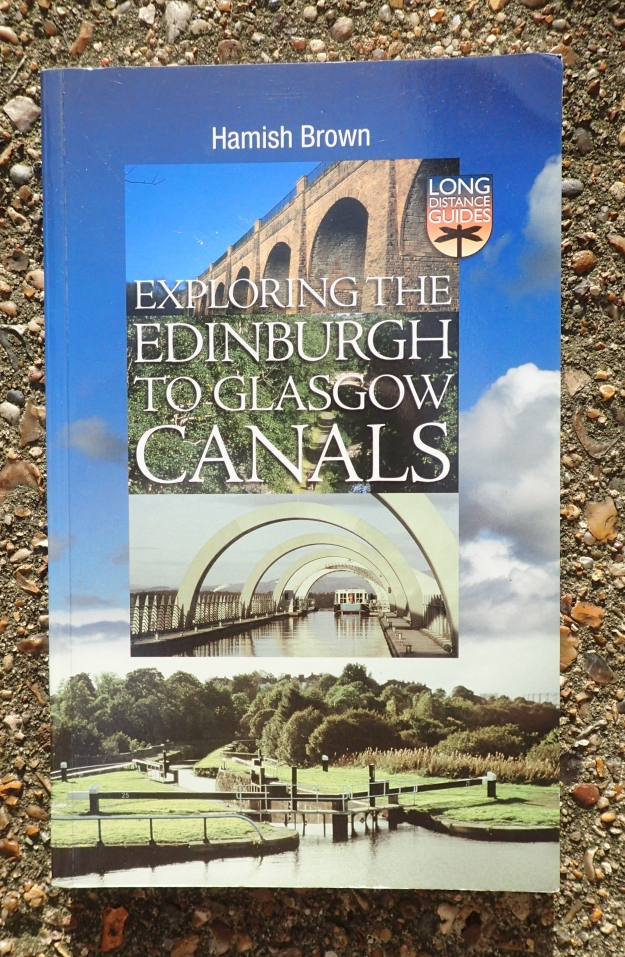 The amazing Falkirk Wheel aqueduct is featured amongst the images on the cover of Hamish Brown's book- Exploring the Edinburgh to Glasgow Canals