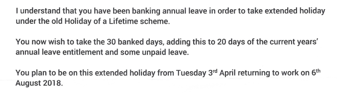 Part of my letter from HR. I am now 'officially' allowed to depart