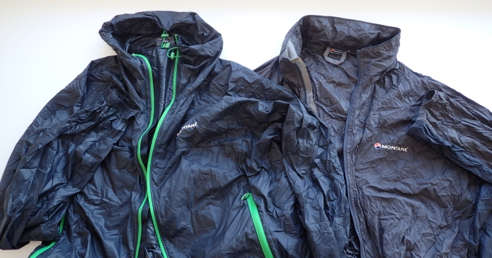 My new Lite-Speed windshirt,, on the left, shows off the added hand pockets that have replaced the single napoleon pocket on the earlier version