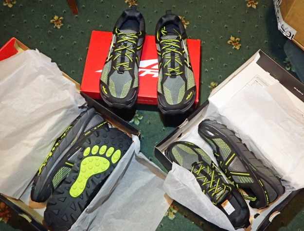All ready for my Three Points of the Compass walk- three pairs of Altra Lone Peak 3.5's in UK size 12