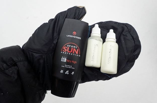 Prism Mitts from Montane are a fantastic option for lower temperatures. Three Points of the Compass will also be carrying one small bottle of sunscreen in is pack, hopefully neither item will be required