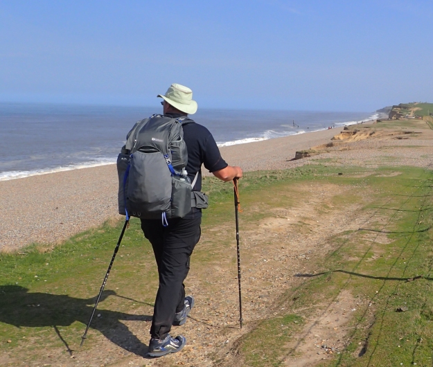 Three Points of the Compass walked the Norfolk Coast Path in April 2017. A Tilley Airflow hat protects head and neck, however the backs of hands and forearms frequently catch the sun
