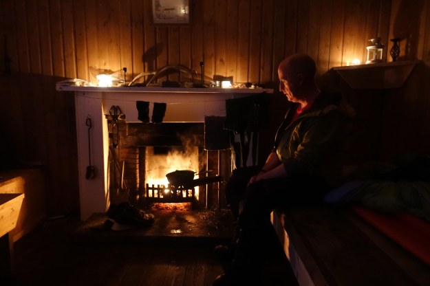 Evening at Maol Bhuidhe bothy with Ken Maclean, a hiker out to bag a few hills and fish in the lochans. Good chocolate, good whisky and good conversation made for a convivial time