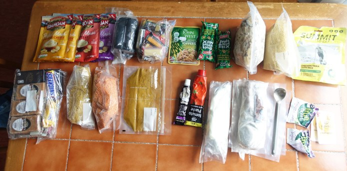 Food supply was not, perhaps surprisingly, a problem. Here is around a weeks worth of food- Centered around a reinforced oat based breakfast, flapjacks, cheese, the makings for a simply lentil curry each night with added carbs etc. Plus various brew kit items and sundries. I also carried one emegency dehydrated meal that made a 'last supper' eventually